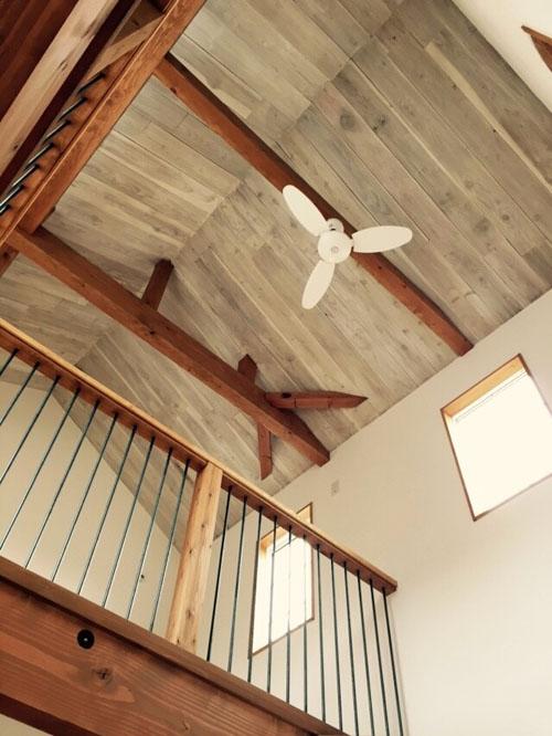 板張りの天井